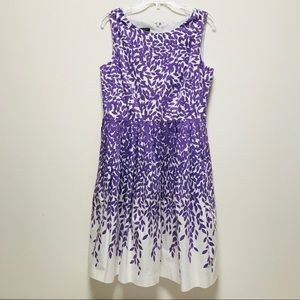Talbots Purple Leaf Print Fit & Flare Dress 10